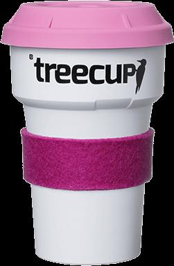 treecup mehrwegbecher to go türkis gelb mit hitzeschutz